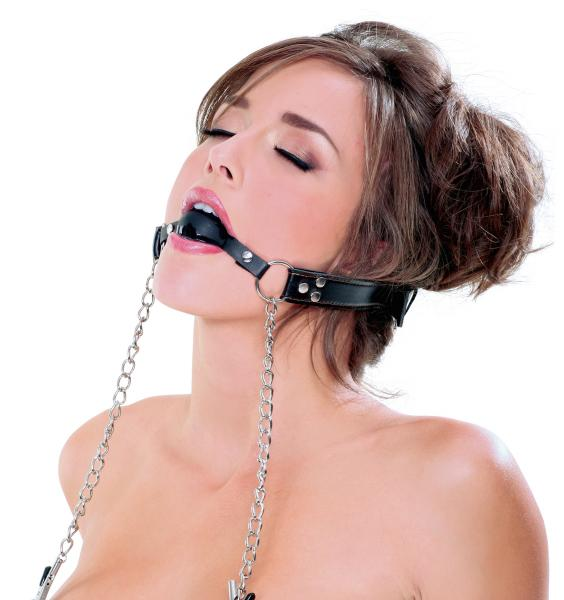 Deluxe Ball Gag And Nipple Clamps Black