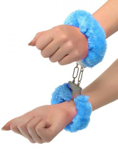 Neon Furry Cuffs Blue Handcuffs