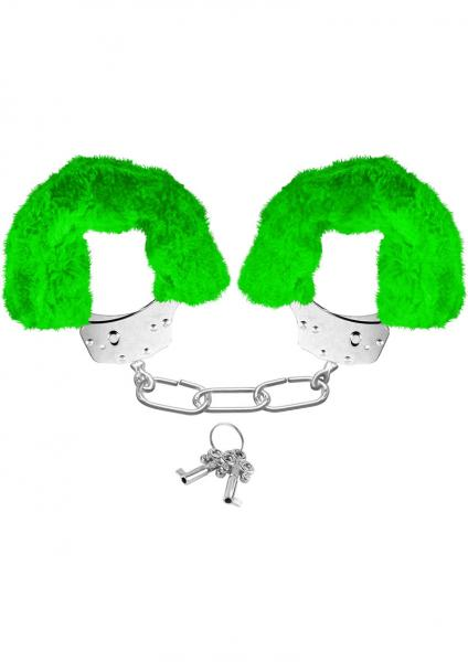 Neon Furry Cuffs Green Handcuffs