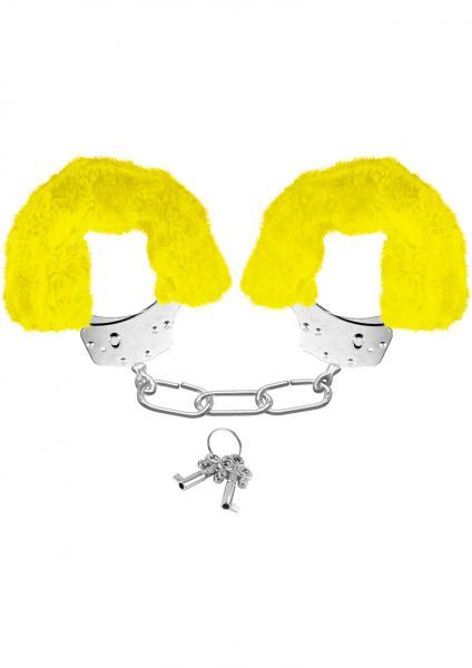 Neon Furry Cuffs Yellow Handcuffs