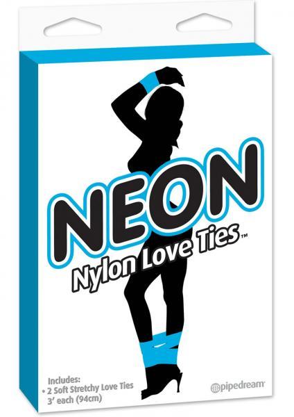Neon Nylon Love Ties 2 each Blue