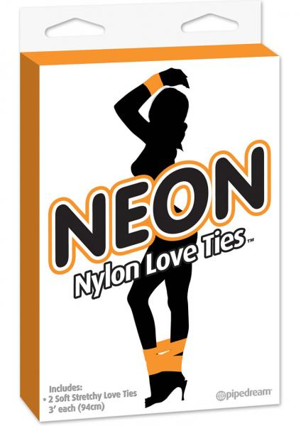 Neon Nylon Love Ties 2 each Orange