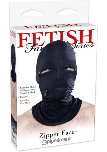 Black Zipper Face Hood