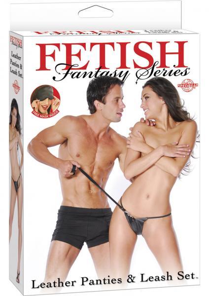 Fetish Fantasy Leather Panties And Leash Set Black