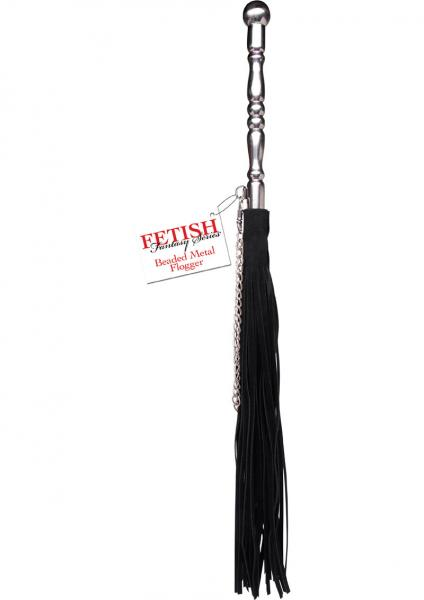 Beaded Metal Flogger Black