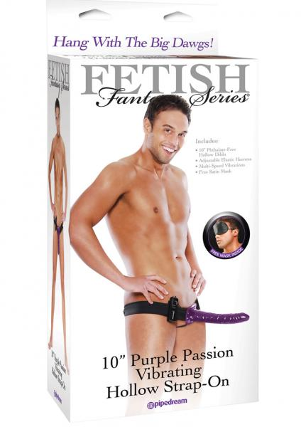 10 Purple Passion Vibrating Hollow Strap-On