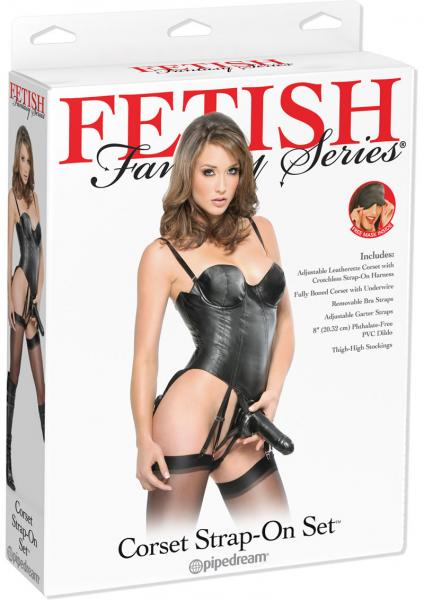 Fetish Fantasy Corset Strap On With Dildo Set Black