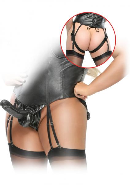 Fetish Fantasy Corset Strap On With Dildo Set Black Plus Size