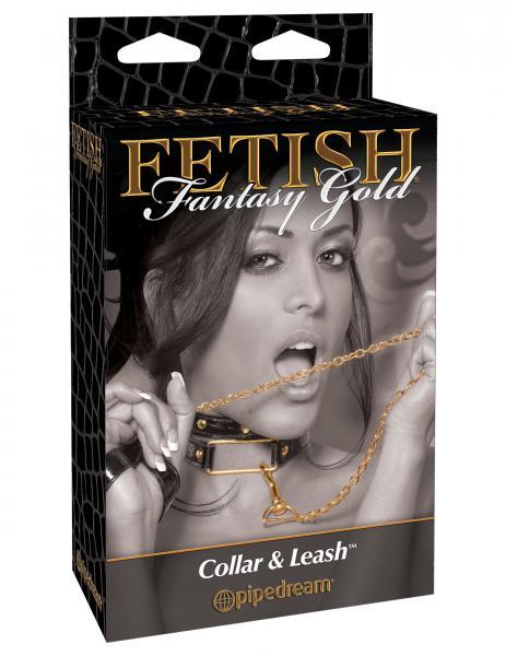 Fetish Fantasy Gold Collar & Leash Black/Gold