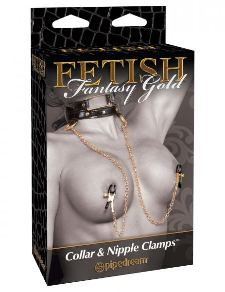 Fetish Fantasy Gold Collar & Nipple Clamps Black/Gold