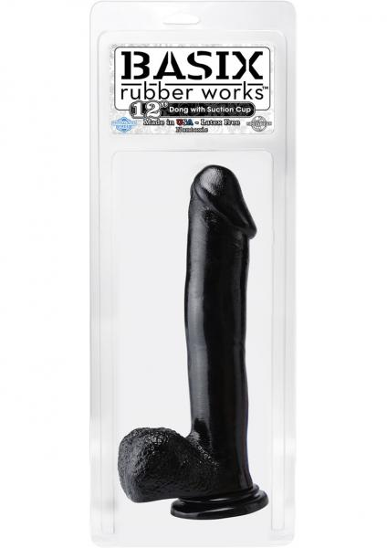Basix Rubber 12 Inch Dong With Suction Cup Black