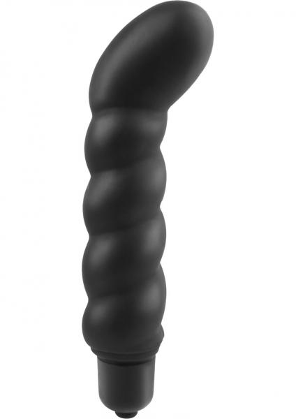 Anal Fantasy Ribbed P-Spot Silicone Vibe Black