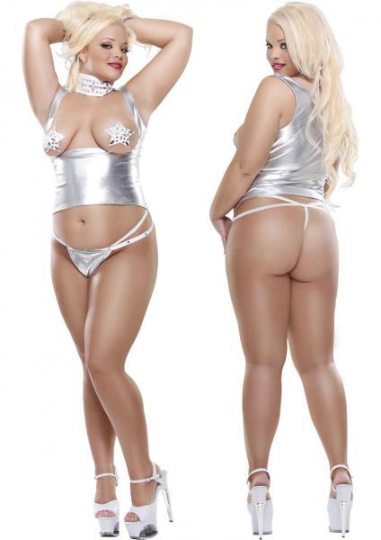 Fetish Fantasy Lingerie Lady Glamour Diva Size Silver