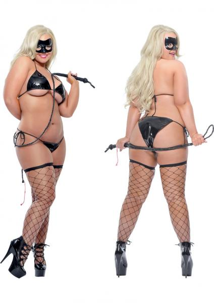 Fetish Fantasy Lingerie Karnal Kitty Costume With Whip Black Diva