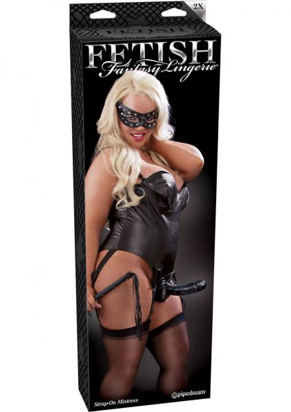 Fetish Fantasy Lingerie Strap On Mistress Corset With Dildo Black XXLarge