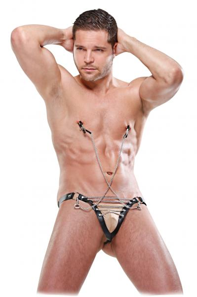 Male Chain Gang Thong Nipple Clamps Black S/M