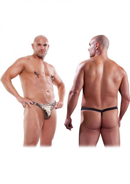 Male Chain Gang Thong Nipple Clamps Black L/XL