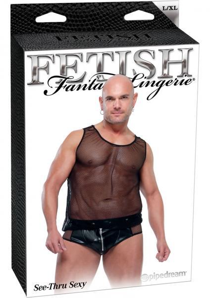 Fetish Fantasy Lingerie male See Thru Sexy Black Large Extra Large