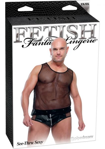 Fetish Fantasy Lingerie Male See Thru Sexy Black 2 X Large 3 X Large