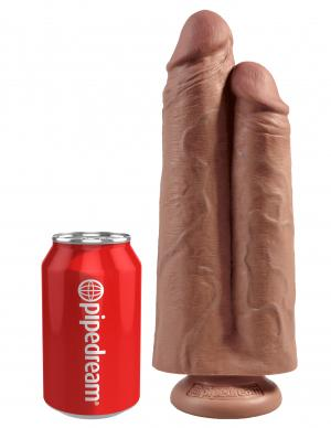 King Cock 9 inches Two Cocks One Hole Dildo Tan