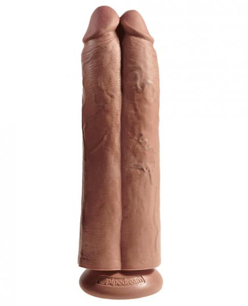 King Cock 11 inches Two Cocks One Hole Tan Dildo