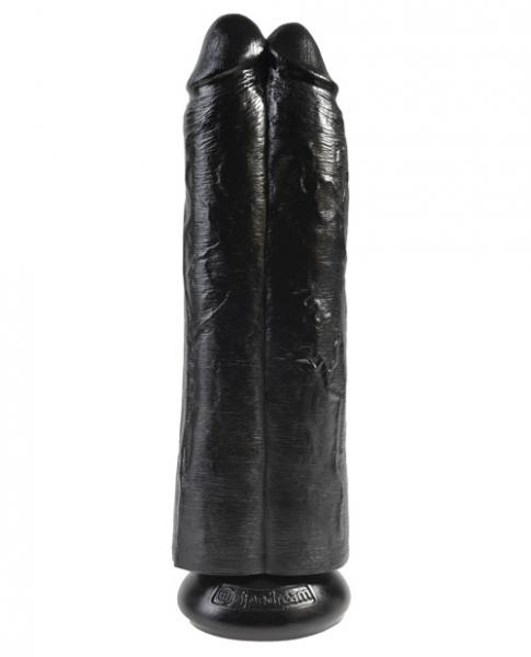 King Cock 11 inches Two Cocks One Hole Black Dildo