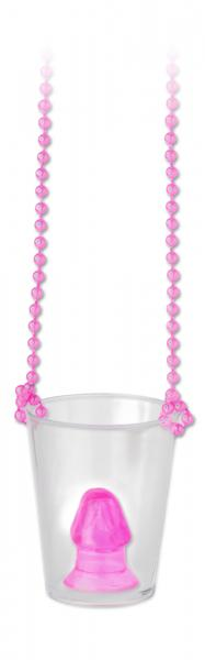 Bachelorette Party Favors Pecker Shot Glass Necklace Pink