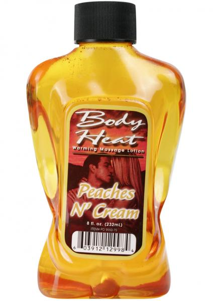 Body Heat Warming Massage Lotion Peaches N Cream 8oz