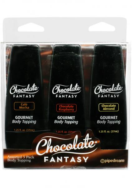Chocolate Fantasy Body Toppings Mini Bottles 1.25 Ounce 3 Each Per Pack