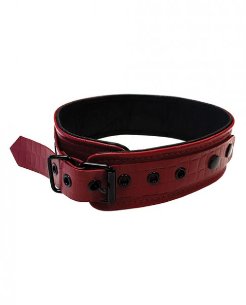 Rouge Anaconda Collar Burgundy Red Leather