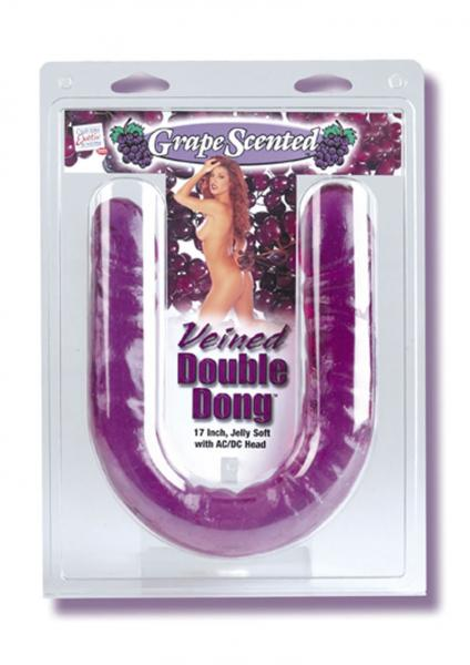 VEINED DOUBLE DONG JELLY SOFT WITH AC/DC HEAD GRAPE SCENTED PURPLE