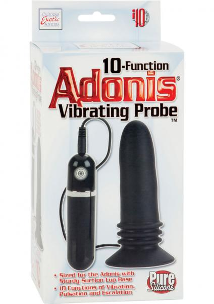 10 Function Adonis Vibrating Probe Silicone Black 5 Inch