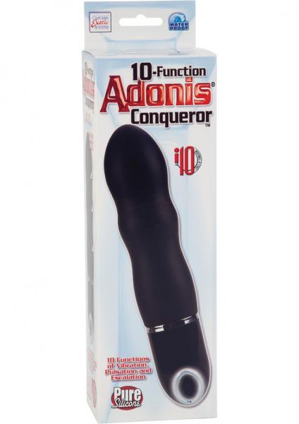 10 Function Adonis Conqueror Silicone Massager Waterproof Black 5.5 Inch