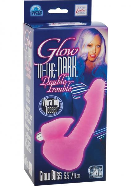 Glow In The Dark Double Trouble Glow Bliss Dong With Vibrating Teaser Waterproof Pink