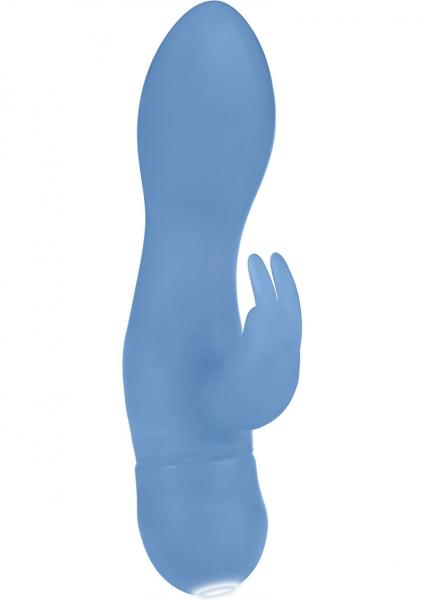 Silicone Jack Rabbit One Touch Vibrator Waterproof Blue 4.25 Inch
