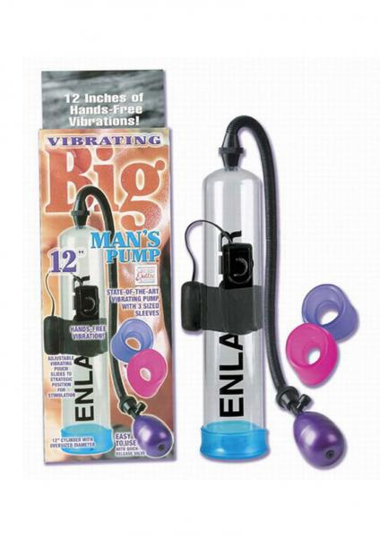 VIBRATING BIG MANS PENIS PUMP WITH REMOVABLE MULTISPEED BULLET CLEAR