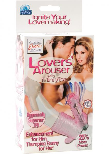 Lovers Arouser Bunny With Mini Vibe Enhancement For Him Thumping Bunny For Her 3.75 Inch Pink