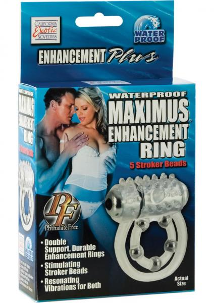Waterproof Maximus Enhancement Ring With 5 Stroker Beads Clear