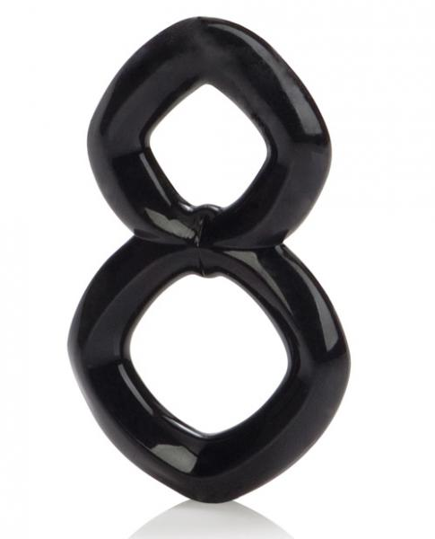 Crazy 8 Enhancer Double Cock Ring Black