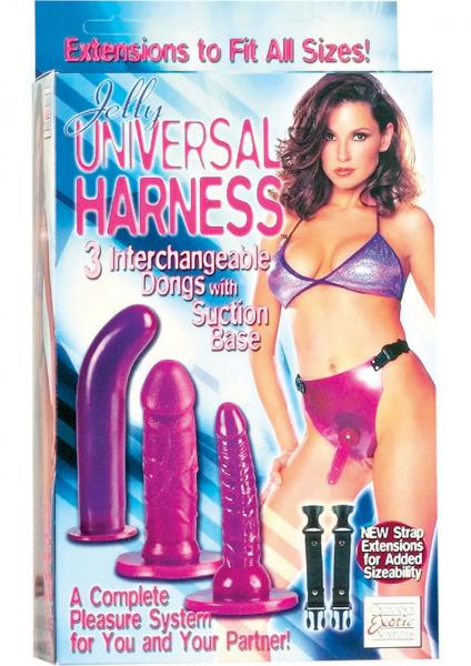 Jelly Universal Harness With 3 Interchangeable Dongs With Strap Extensions Purple
