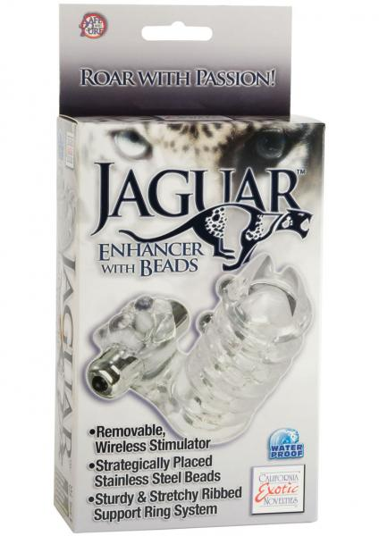 Jaguar Enhancer With Beads With Removable Stimulator Waterproof 3.5 inch Clear