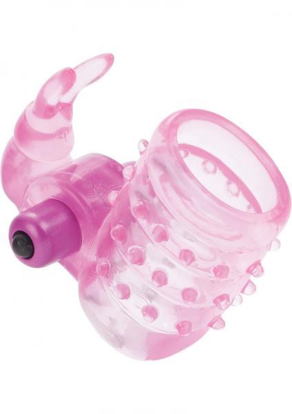Basic Essentials Stretchy Vibrating Bunny Enhancer Pink