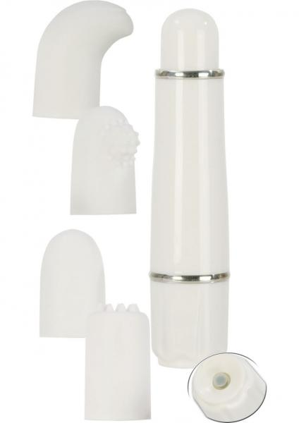 Love Vibe Number 9 Velvet Cote Massager With Interchangeable Tips White