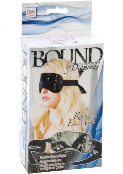 Bound By Diamonds Ribbon Eye Mask Black