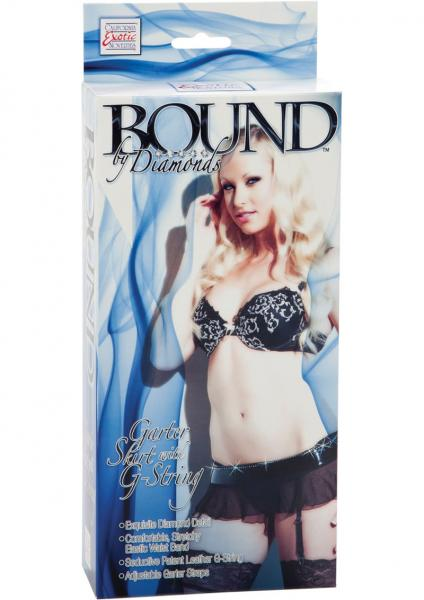 Bound By Diamonds Garter Skirt With G String Black