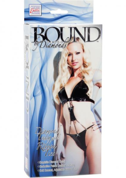 Bound By Diamonds Diamond Teddy With Ribbon Ties Black