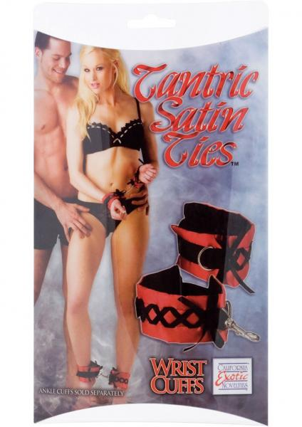 Tantric Satin Ties Wrist Cuffs Red with Black