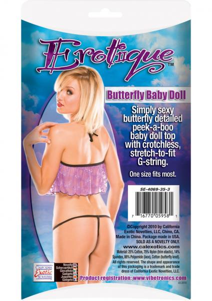 Erotique Butterfly Baby Doll Purple with Black