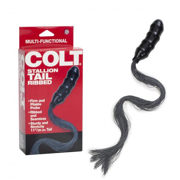 Colt Stallion Tail Ribbed Black Butt Plug