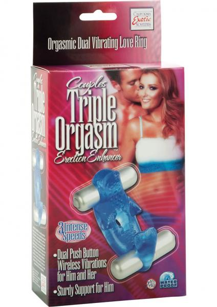 Couples Triple Orgasm Erection Enhancer Cockring Blue
